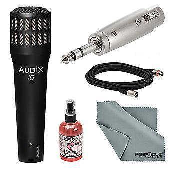 Audix i5 dynamiskt instrument kardioid mikrofon grundläggande bunt med sanitizer + fibertique trasa +kabel+adapter