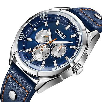 MEGIR ML2072G Men Watch Luminous Display Calendar Watch Leather Sport Style