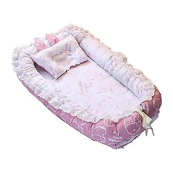 Portable Baby Infant Travel Sleep Nest Soft Breathable Cotton Lounger Bed