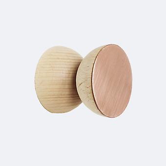 Gancio / manopola geometrico a parete in legno di faggio e rame