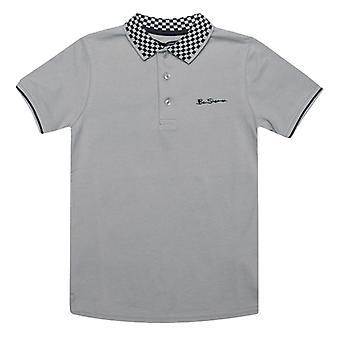 Boy's Ben Sherman Junior Checkerboard Krave Polo Shirt i Grå