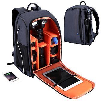 [Stock des Émirats Arabes Unis] PULUZ Outdoor Portable Waterproof Scratch-proof Dual Shoulders Backpack Camera Bag (Gris)