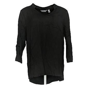 Lisa Rinna Collection Women's Top Woven Open-Neck Blouse Black A341679