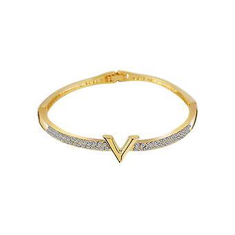 Luxus-Buchstabe Kristall Strass Arm Manschette Zirkon Armband