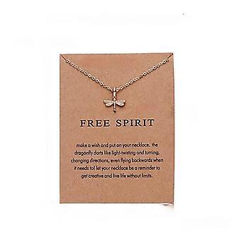 Esprit libre - collier 18K or plaqué libellule cadeau