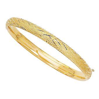 """14k Yellow Gold Sparkle ja timantti muoto kuvio rannerengas rannerengas, 7 """""""
