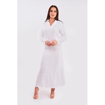 Pointy women's hooded djellaba maxi dress kaftan in white
