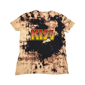 Kiss T Shirt Classic Band Logo new Official Mens Dip Dye Tan and Black