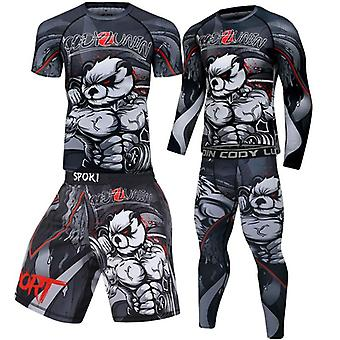 Men's Boxing Jersey Set, Fitness Compression Sportswear Clothing