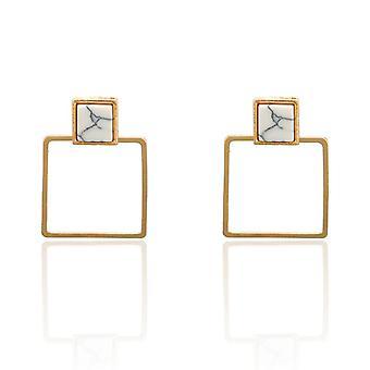 Marble Pattern Hollow Square Drop Earrings