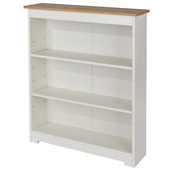 Kolo Low Wide Bookcase Adjustable Shelves Off Cream Oak