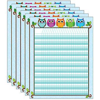 Tabla de incentivos de búhos coloridos, paquete de 6