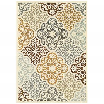 4' x 6' Ivory Grey Floral Medallion Indoor Outdoor Area