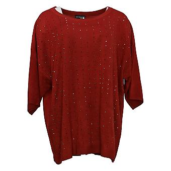 Antthony Women's Sweater Plus Extended Shoulder W/ Rhinestones Red 726-484