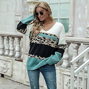 Leopard Green And Black Striped Sweaters Winter Pullovere