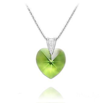 Silver geniune peridot necklace