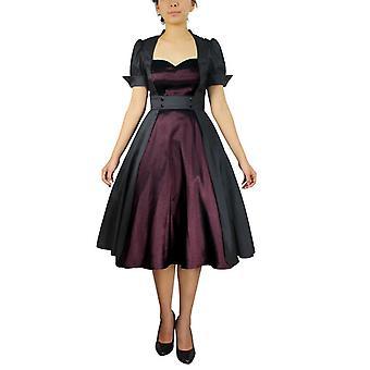 Chic Star Contrast Swing Dress In Black/Purple