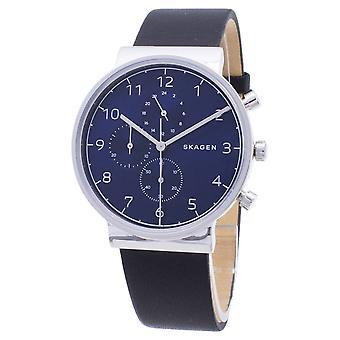 Relógio Skagen relógio cronógrafo quartz masculino com couro SKW6417
