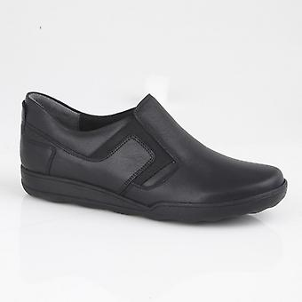 Mod Comfys Zazas Ladies Leather Twin Gusset Casual Shoes Black