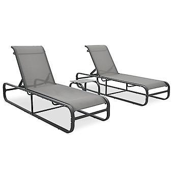 vidaXL Chaises longues 2 pcs avec table textile et aluminium
