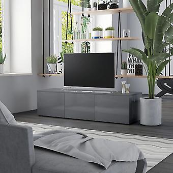 vidaXL armoire TV gris brillant 120 x 34 x 30 cm panneau de particules