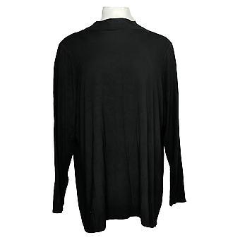 Laurie Felt Women's Plus Top Long-Sleeve Knit Mock-Neck Black A372260