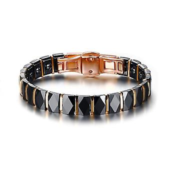 Stainless Steel 2-tone Ceramic Therapy Bracelet For Male, Female, Unisex