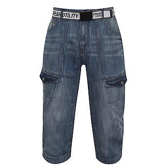 No Fear Mens Belted Cargo BTK Shorts Denim Long Bottoms Side Pockets