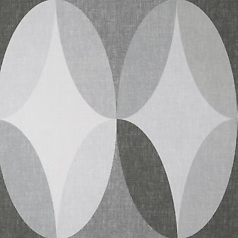 Kirby Oval Geo Charcoal Wallpaper