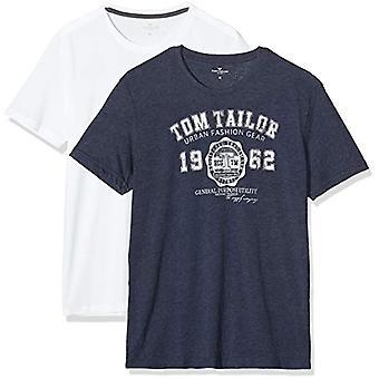 Tom Tailor Doppelpack Basic T-Shirt, Blue (Real Navy Blue 10360), S (Pack of 2) Men