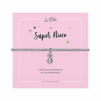 My Super Nichtje - 15.5cm Sentiments Kinderarmband - Zilver - Sieraden Cadeaus voor Meisjes van Lu Bella