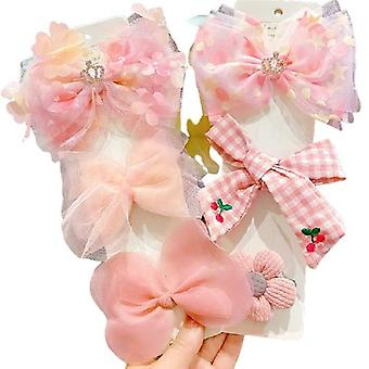 6pcs Hairpin Bows Hair Clips Head Accessories Set For Baby Girls Gift