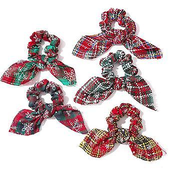 5Pcs hair ties christmas rabbit ears hair ring for women and girl