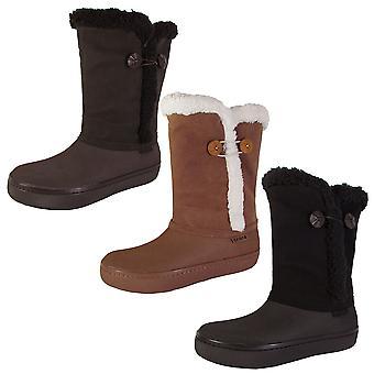 Crocs naisten modessa synteettinen mokkanahka nappi boot kengät
