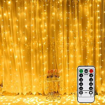 Warm white 3mx3m led light curtain 300 leds usb waterproof 8 modes white light dt6909