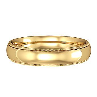 ジュエルコロンドン18ctイエローゴールド - 4mmエッセンシャルコート形ミルグレインエッジバンドコミットメント/結婚指輪