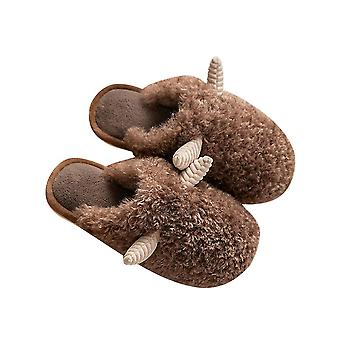 Coffee 44-45 horn-shaped cute home warm plush couple slippers-male homi3355