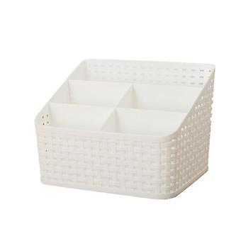 Multi-function Cosmetic Organizer Desktop Make-up Solid Organizer Storage Box(White)