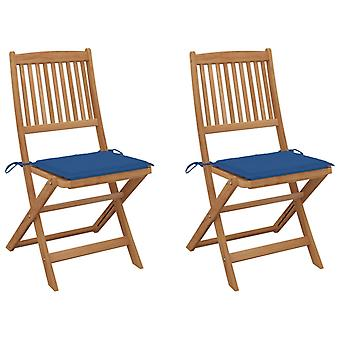 vidaXL chaises de jardin pliable 2 pcs. avec oreiller bois massif acacia