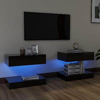 vidaXL ארונות טלוויזיה עם נורות LED 2 יח'.