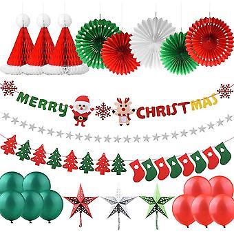 Weihnachtsdekorationen Set, 25 Stück X Mas Deko Weihnachtsfeier Banner und Socken Baumfahne Hanging
