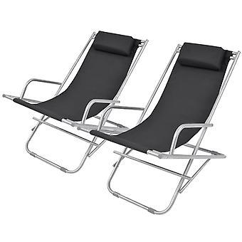 vidaXL chaises longues 2 pcs en acier noir