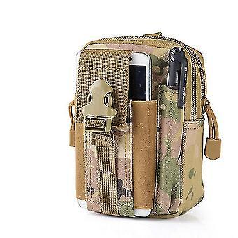 Men Travel Camping Waist Bag Small Pocket Waist Pack Running Pouch Belt(#06 Camouflage Khaki)
