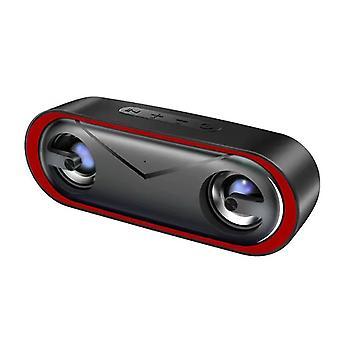 Alto-falante Bluetooth com luzes LED, LENRUE 10W Portátil Outdoor IPX5 Alto-falante à prova d'água c/Corda, Som HD, Playtime 24H, Bass Aprimorado, Alto-falantes Sem Fio de 66 pés para telefone, laptop, festa, churrasco, casa, viagem(vermelho)