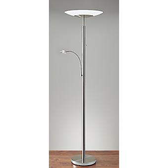 Brushed Steel Metal with Wide Disc Shade Torchiere Plus Task Light Floor Lamp