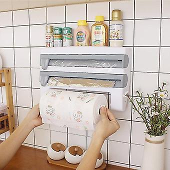 Kitchen Storage Rack Towel Hanger Holder Tin Foil Storage Rack Kitchen Accessories Cling Film Sauce