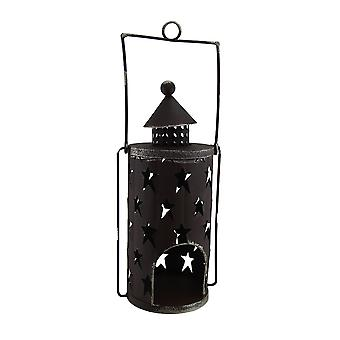 Star Dancer Rustic Brown Decorative Metal Candle Lantern w/Cut Out Stars