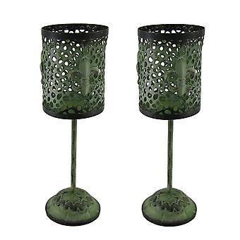 Set of 2 Green Vintage Finish Footed Metal Fleur De Lis Candleholders