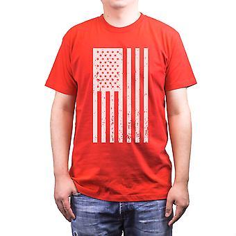 Nödställda herrskjorta för amerikanska flaggan självständighetsdagen röd Tee för 4 juli