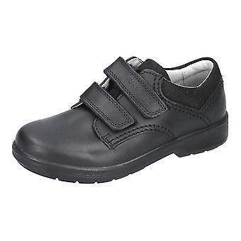 Ricosta william black school shoes with double rip-tape (wide)